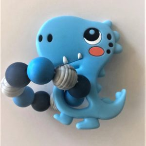 Silicone Teething rings blue dino